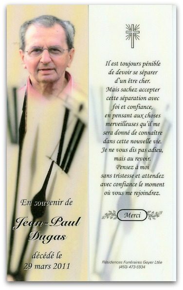 In memoriam Jean-Paul Dugas 1925-2011